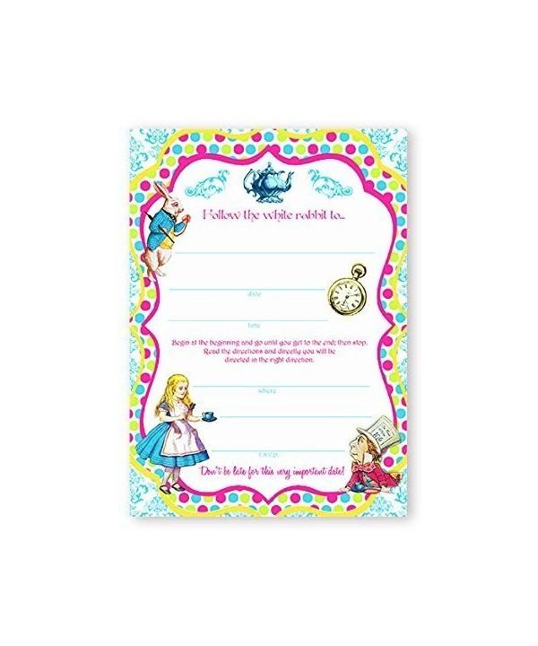 Alice Wonderland Brights LARGE Invitations