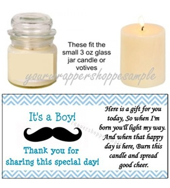 Personalized Mustache Shower Candle Labels