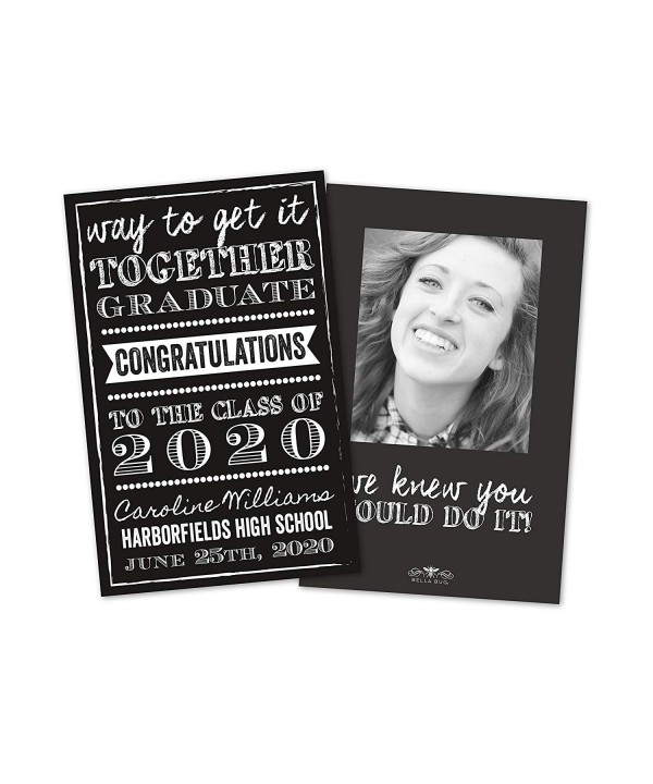 Black White Personalized Graduation Announcement
