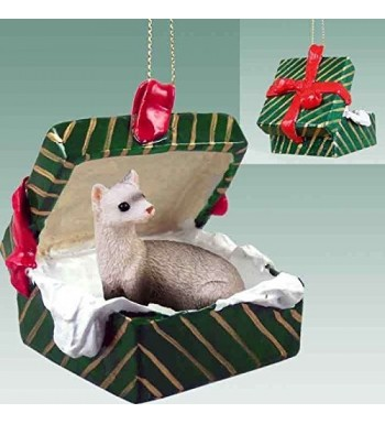 Ferret Gift Box Christmas Ornament