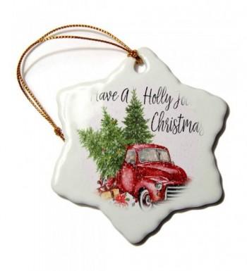 3dRose Holly Christmas Snowflake Ornament