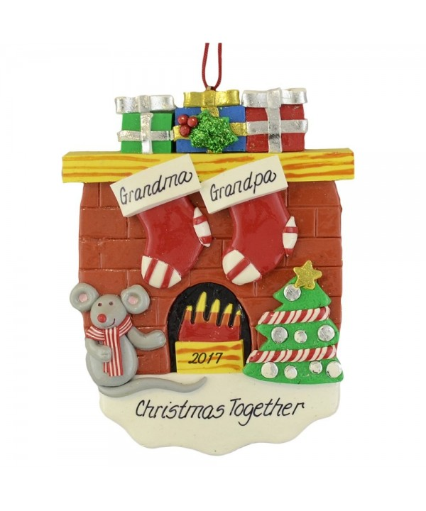 Fireplace Stockings Personalize Christmas Ornament
