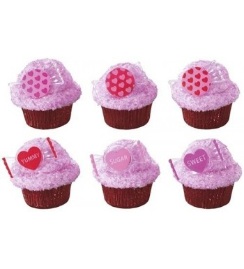 Valentines Candy Sweets Cupcake Toppers