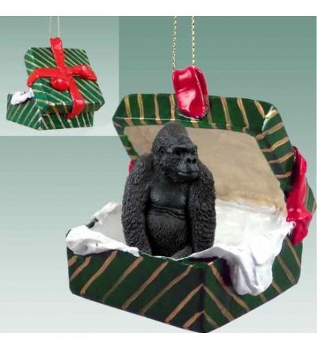 Gorilla Gift Box Christmas Ornament