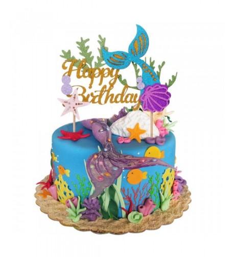 Glitter Mermaid Birthday Picks Decoration Supplies