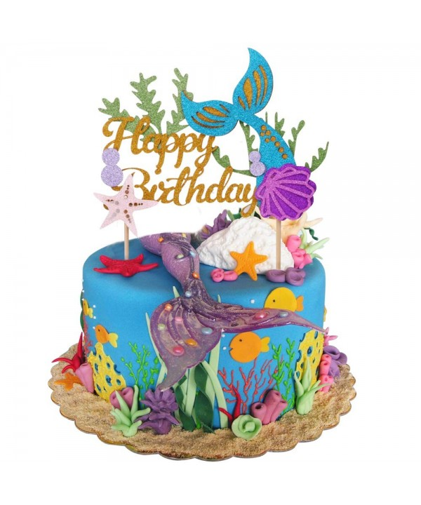Glitter Mermaid Birthday Picks Decoration Supplies