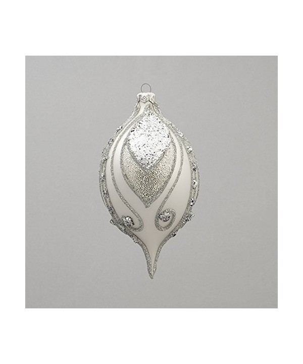Silver tear drop Christmas ornament