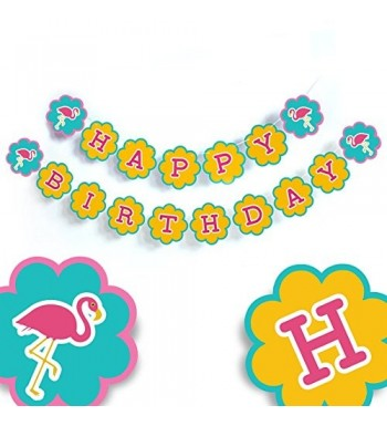 Flamingo Birthday Banner Decorations Tropical