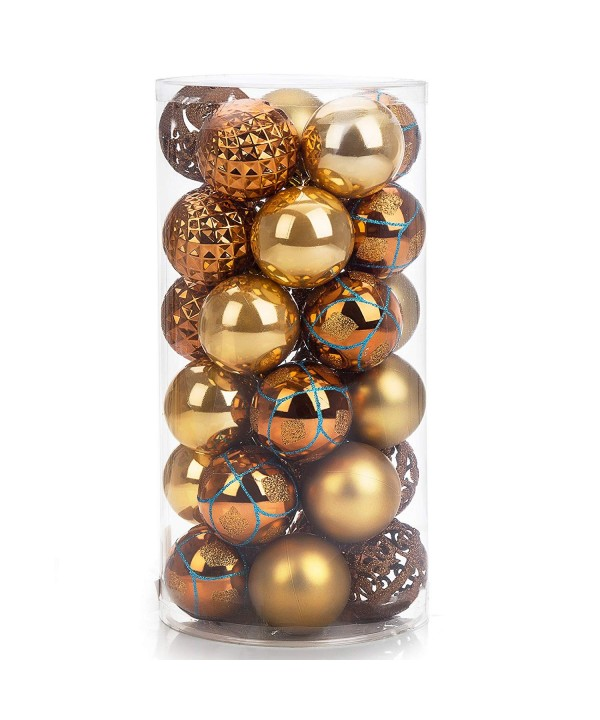 Shatterproof Christmas Ball Ornaments 30ct 60mm 2 4 Gold Shiny Matte Glitter And Pierced Christmas Tree Balls Baubles For Festival Party