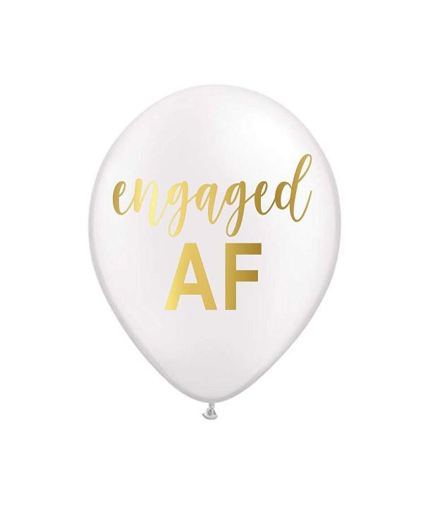 White Engaged Bachelorette Balloons Bridal