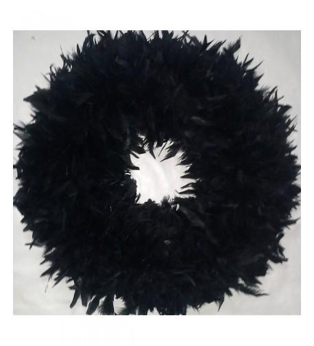 Black Feather Wreath XL Fluffy Halloween