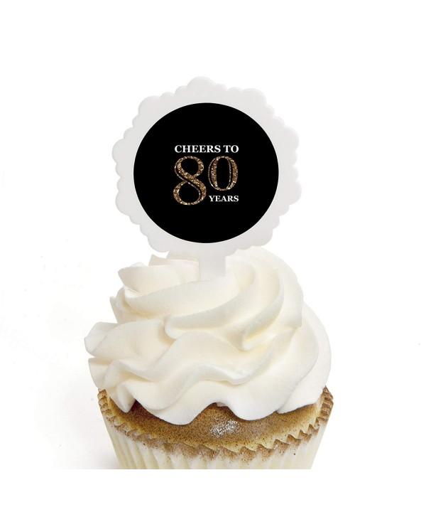 Adult 80th Birthday Cupcake Stickers