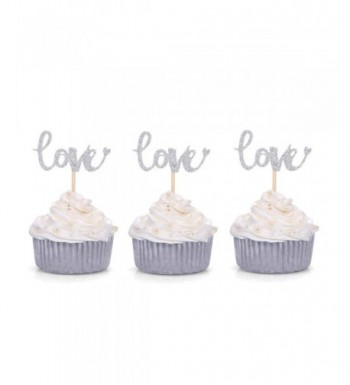 Glitter Cupcake Toppers Wedding Engagement