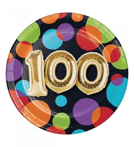 Balloon 100th Birthday Dessert Plates