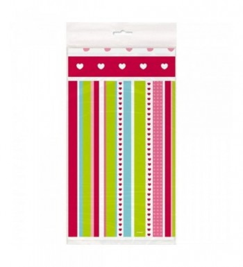 Striped Heart Valentines Plastic Tablecloth