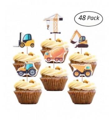 Construction Cupcake Excavator Decoration Birthday