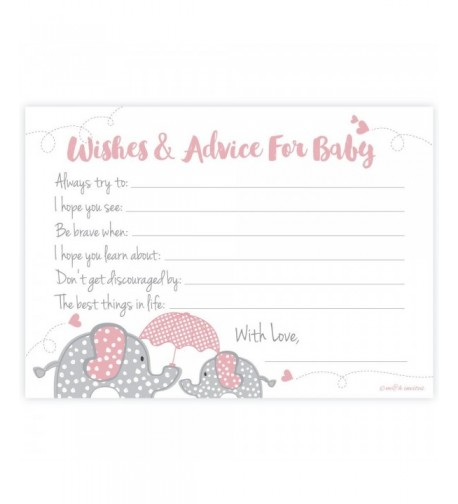 Elephant Shower Wishes Advice Cards