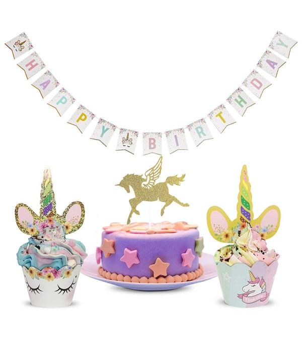 Unicorn Toppers Wrappers Rainbow Birthday