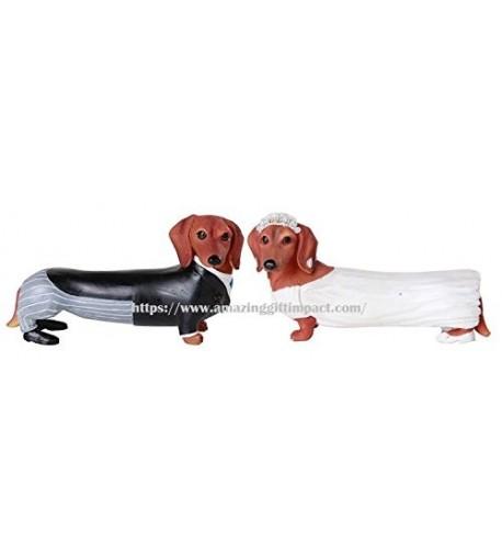 Adorable Wedding Couple Dachshund Figurine