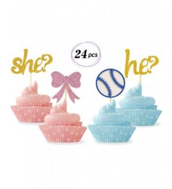 Gender Cupcake Toppers Baseballs Decorations
