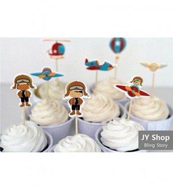 Airplane Cupcake Toppers Decorations Birthday