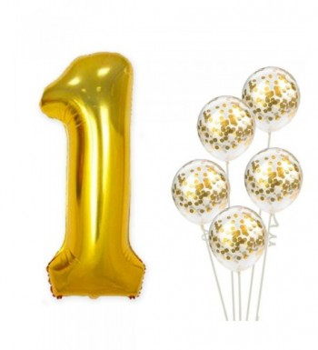 Large Number Gold Confetti Balloon