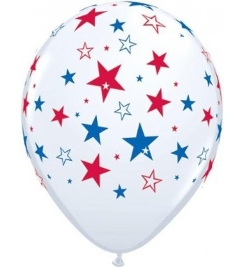 Patriotic White Stars Latex Balloons