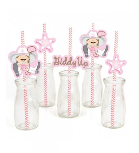 Little Cowgirl Paper Straw Decor
