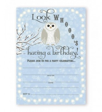 Snowy Owl Birthday Party Invitations