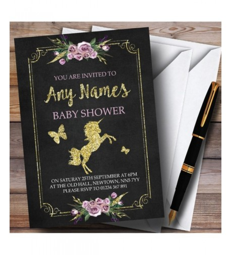 Chalk Floral Unicorn Invitations Shower