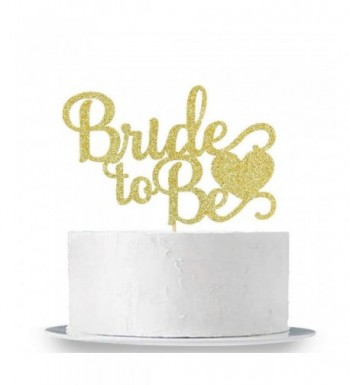 Gold Glitter Bride Cake Topper
