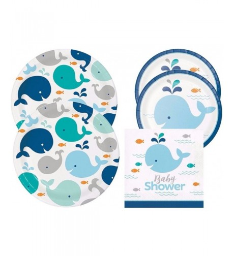 Spout Whale Shower Plates Napkins