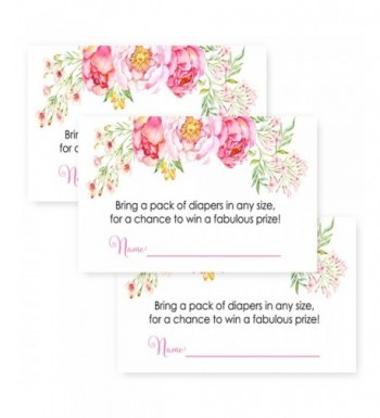 Floral Shower Diaper Invitation Inserts