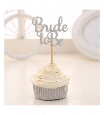 Silver Glitter Cupcake Toppers Wedding