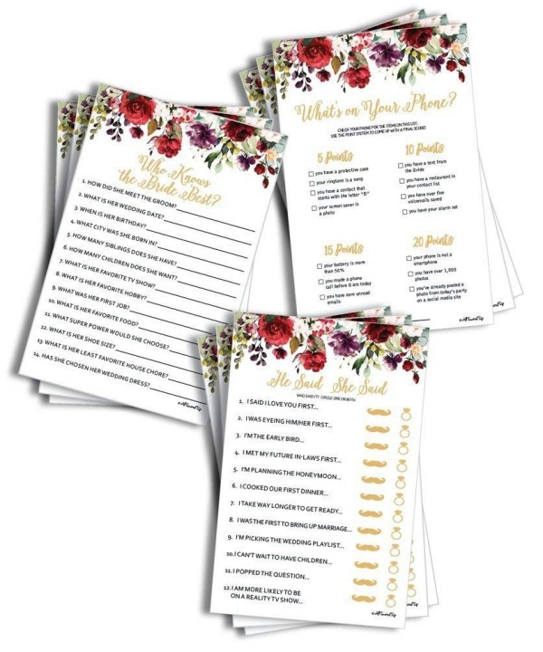 Burgundy Marsala Bridal Shower 150 sheets