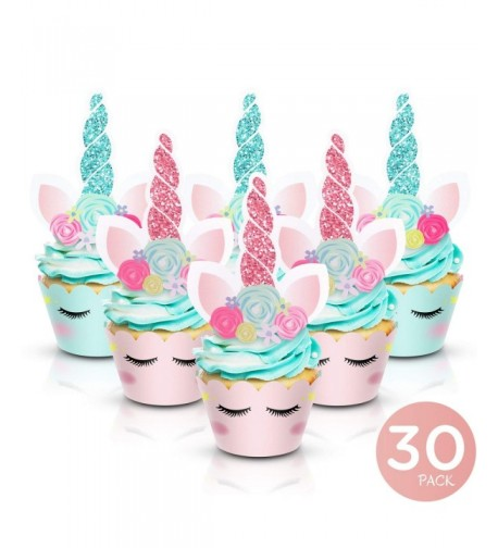 Unicorn Cupcake Toppers Wrappers Double Sided