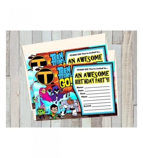 TITANS Birthday Invitations matching envelopes