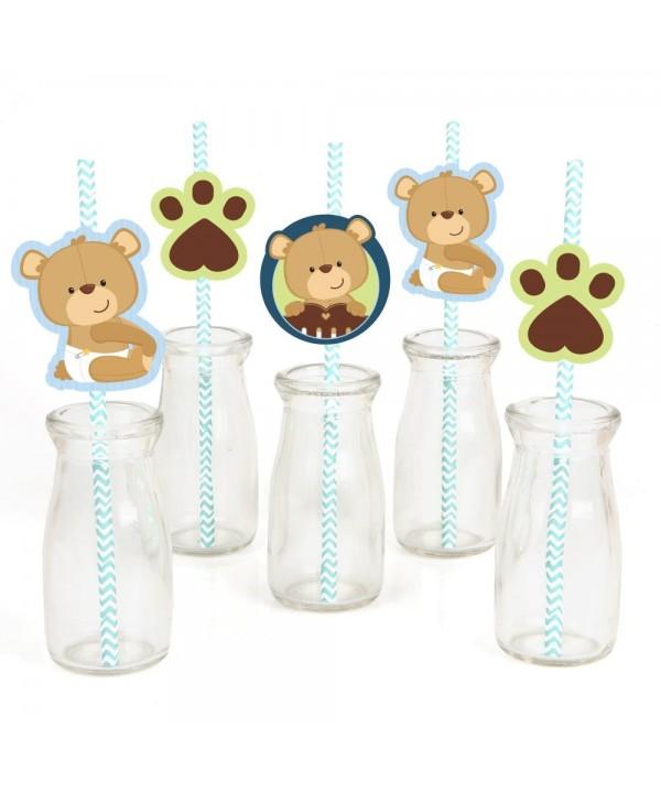 Baby Teddy Paper Straw Decor