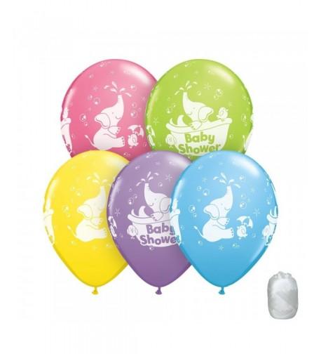 Shower Elephants Balloons Matching Ribbons