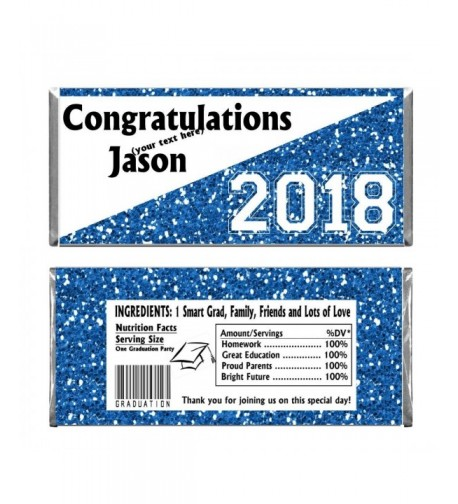 Blue Graduation Personalized Chocolate Wrappers