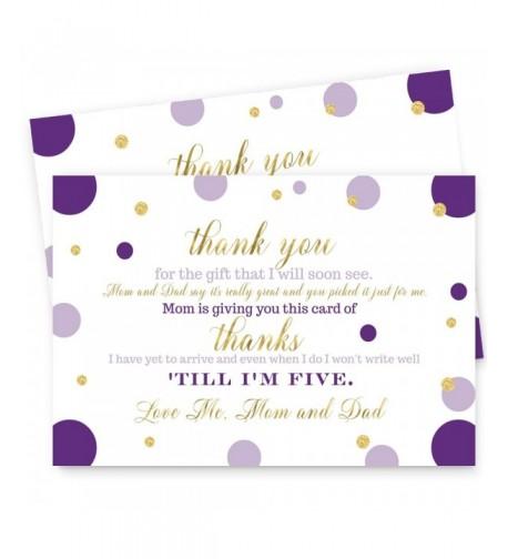 Purple Shower Postcard Thank 15pc