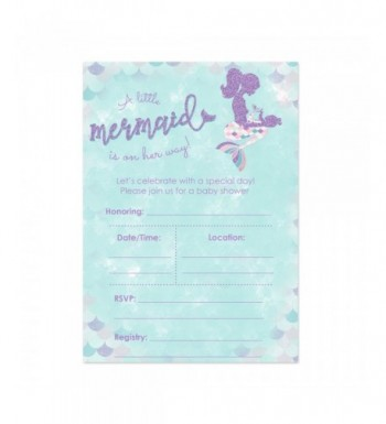 Mermaid Shower Invitations Purple Accents
