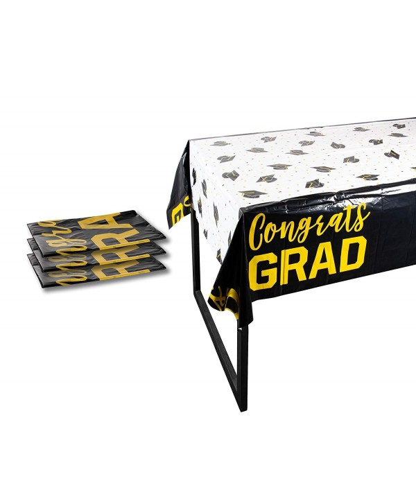 246 & Plastic Table Covers - 3-Pack Congrats Grad Graduation Party Supplies Disposable Plastic Tablecloth - White - Black and Gold - 54 x 108 Inches - ...
