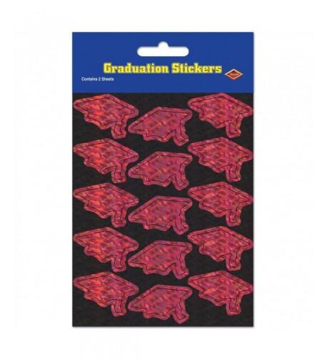 Prismatic Grad Cap Stickers maroon