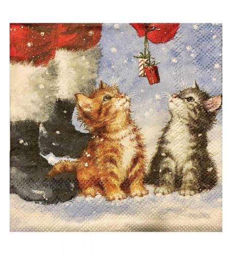 Cocktail Beverage Napkins Christmas Kittens