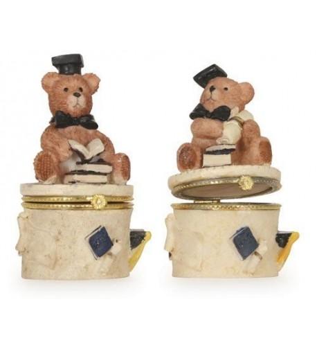 Graduation Bear Trinket Box Pieces