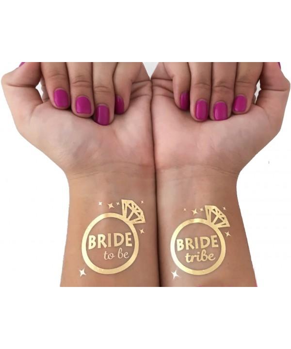 Bachelorette Bride Temporary Tattoos Metallic