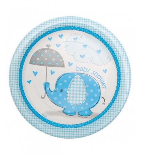 Blue Elephant Baby Shower Plates
